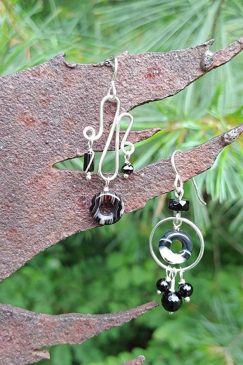Black Agate Sister Earrings