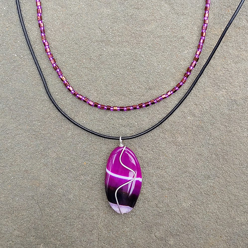 Purple Agate Pendant with White Stripe