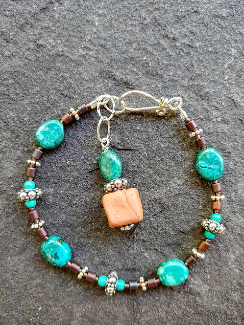 Turquoise and Clay Bracelet