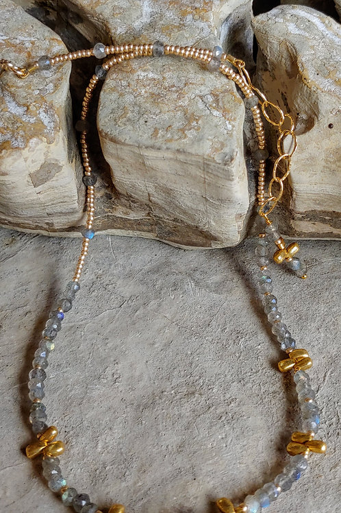 Labradorite Strand Necklace with Gold