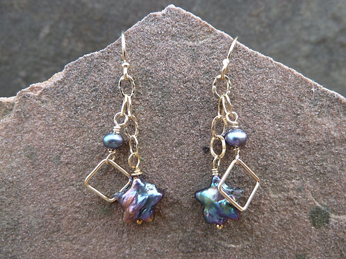 Peacock Stars and Gold Earrings