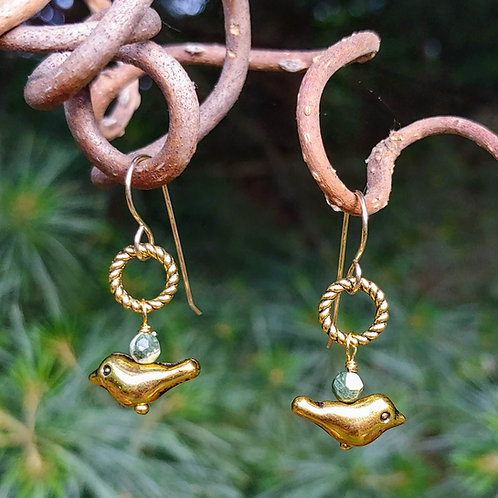 Golden Birdies Earrings