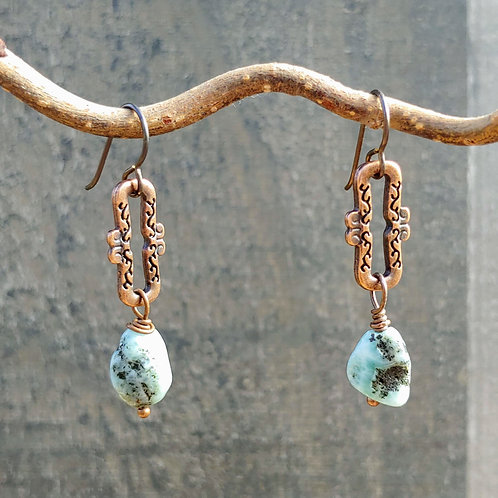 Funky Copper and Larimar Earrings