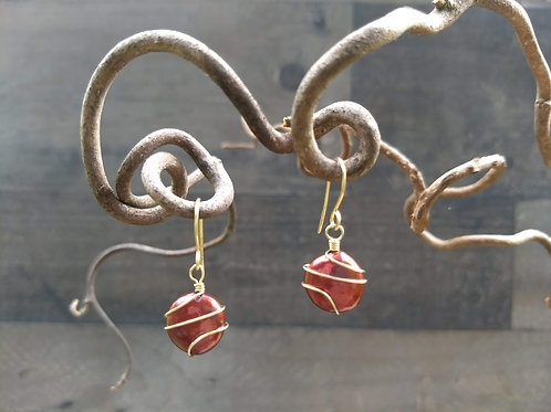Gold Wrapped Pearl Simple Earrings