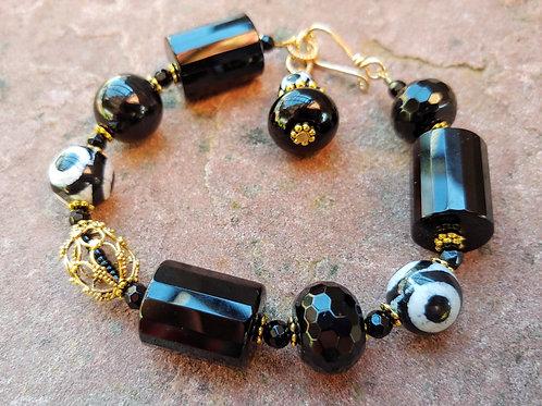 "Chunky ""Evil Eye"" Bracelet with Golden"