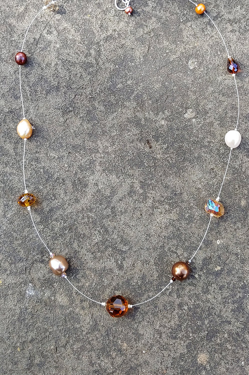 Caramel Pearl + Crystal Floating Thread Necklace