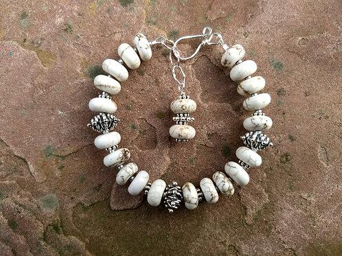 White Turquoise Mixed Metal Fancy Bracelet