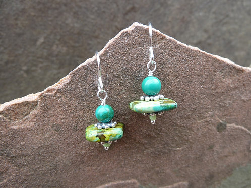 Ceramic and Stone Twin Earrings