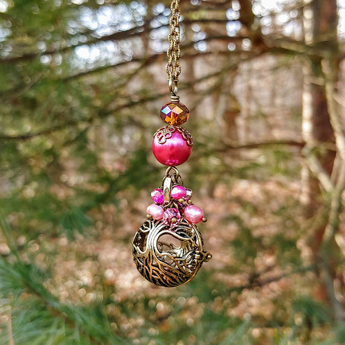 Hot Pink Vyntage Tree of Life Necklace