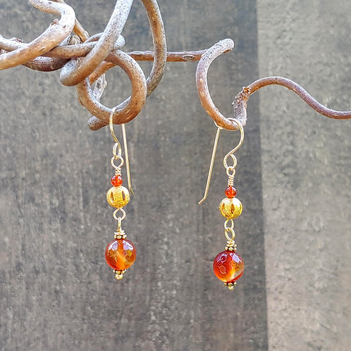 Carnelian and Gold Shorter Earrings