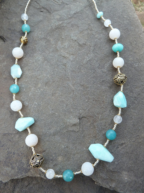 Amazonite and Golds Necklace