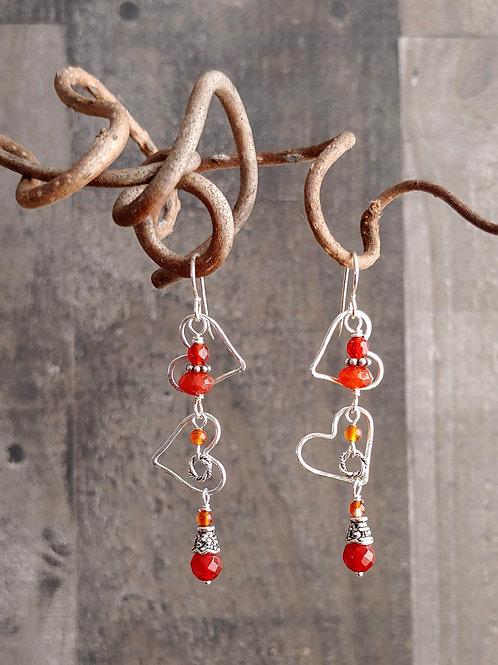 Tumbling Hearts Carnelian Earrings