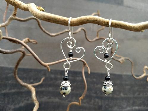 Dalmatian Jasper Heart Earrings