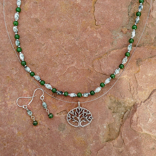 Tree Agate Beaded Necklace w/Separate Tree Pendant
