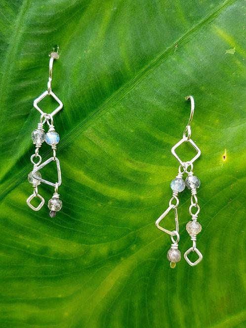 Dainty Chains Labradorite Earrings