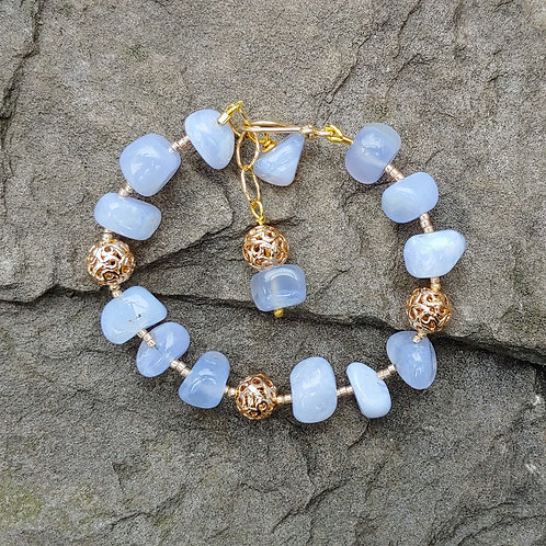 Blue Lace Agate Golden Bracelet