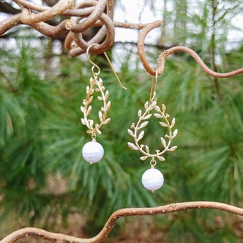 Floral Wreath Agate Earrings
