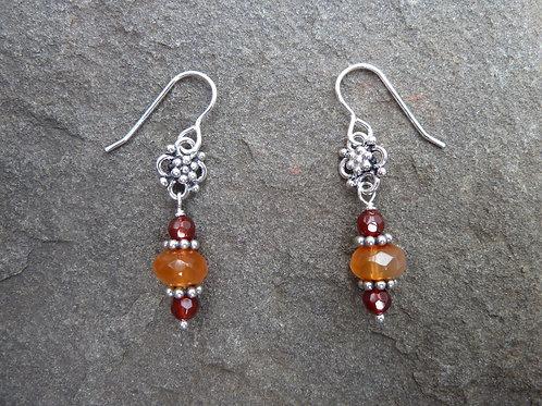 Carnelian and Bali Silver Earrings