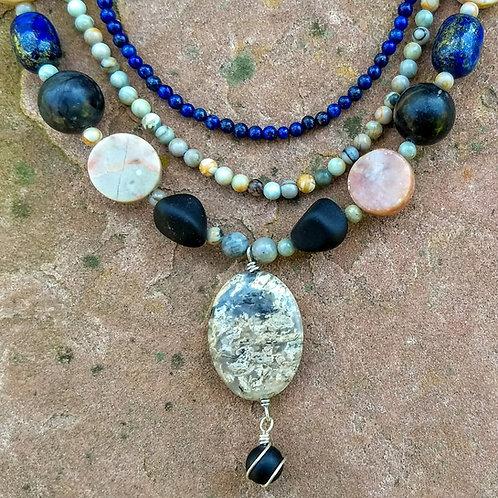 Stone Combination Triple Strand Necklace