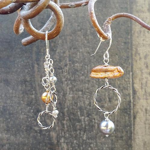 Silver Golden Sister Earrings