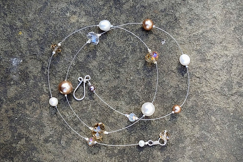 Champagne Neutrals Pearl + Crystal Floating Thread Necklace