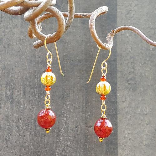 Carnelian and Gold Long Earrings