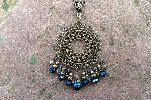Vintage Blue Medallion Pendant