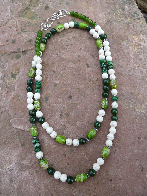 Long Fresh Green Mix Necklace