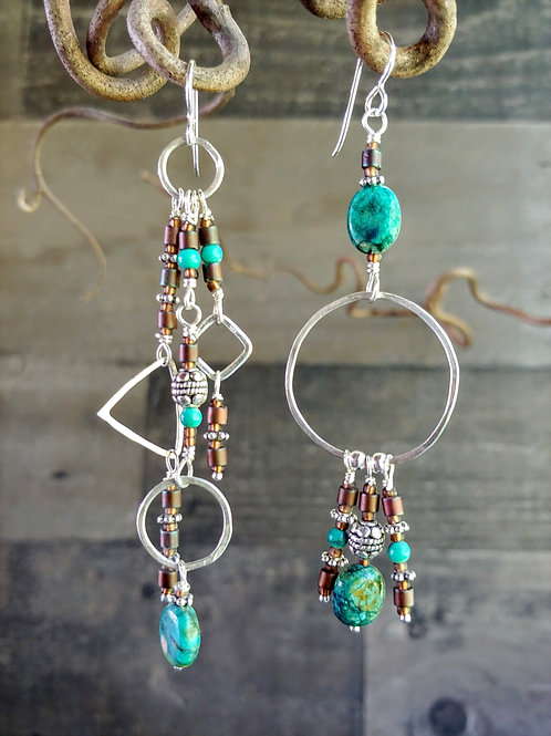 Turquoise and Tobacco Long Sister Earrings
