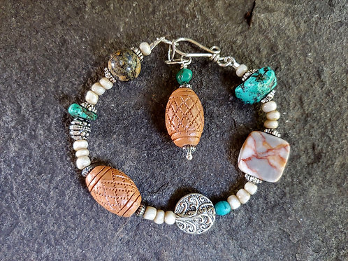 Clay and Turquoise Mix Bracelet