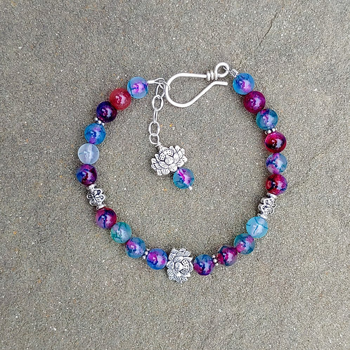 Agates in Purple and Green Bracelet