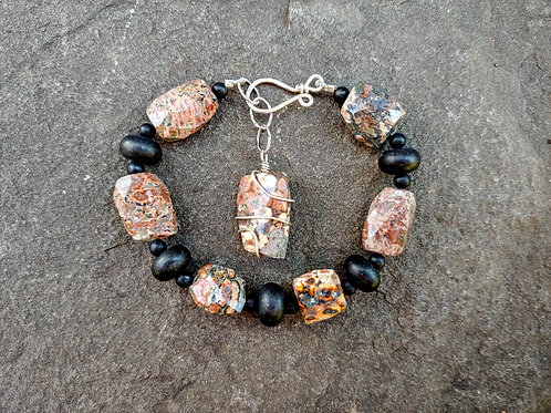 Leopardskin Jasper and Onyx Bracelet