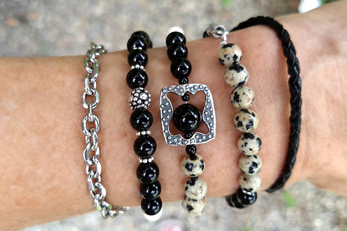 Stone, Silver and Leather Wrap Bracelet/Necklace