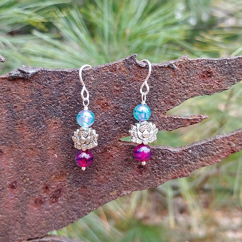 Agates in Purples and Greens Earrings