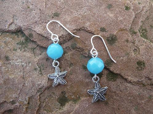 Aqua Starfish Earrings