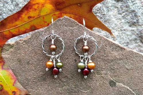 Fall Pallette Silver Earrings