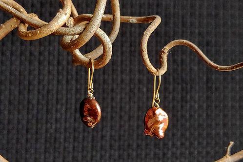Lumpy Chocolate Pearl Earrings