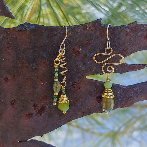 Rhyolite and Jades Dangle Sister Drops