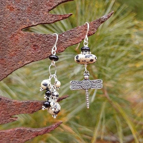 Dragonfly Dalmatian Jasper Sister Earrings