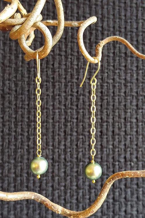 Green Glow Long Earrings