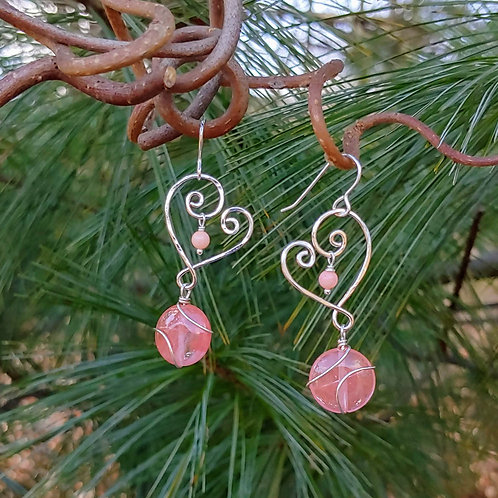 Stylized Hearts with Cherry Quartz Earrings