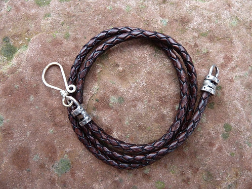 Braided Leather Cord Brown