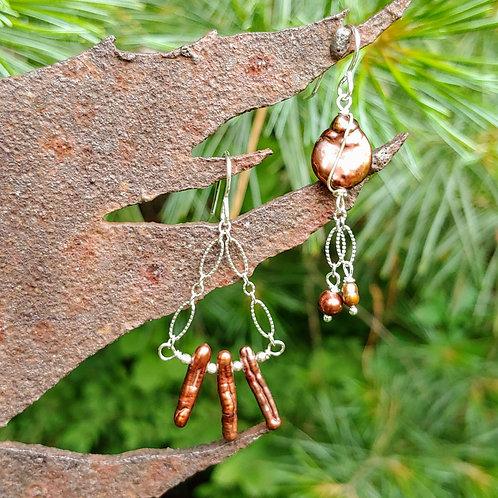 Chocolate Pearl Sister Earrings