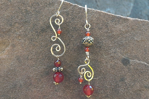 Carnelian and Gold Sister Earrings