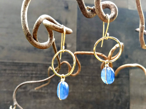 Kyanite and Gold Circle Earrings