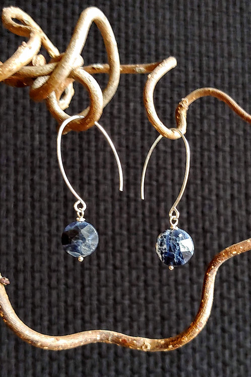 Simple Sodalite Coin Earrings