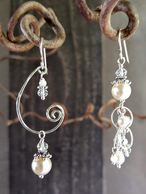 White Pearl and Crystal Sister Earrings