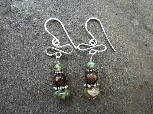 Rainforest Rhyolite and Bow Tie Earrings