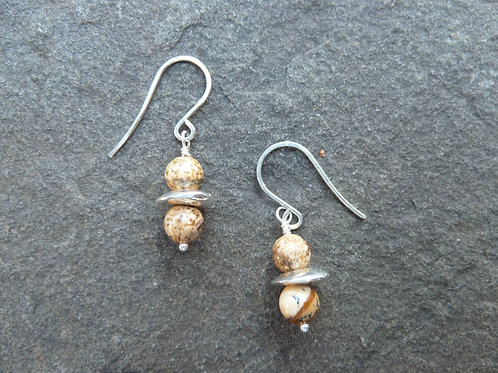 Picture Jasper Short Earrings