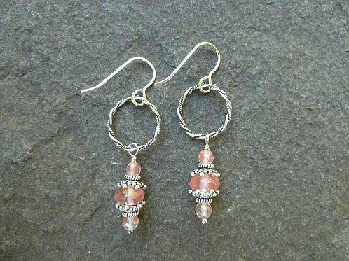 Cherry Quartz Oxidized Silver Earrings